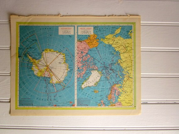 Vintage Polar Map, Colorful 1950s Atlas Map of Antarctica and North Pole