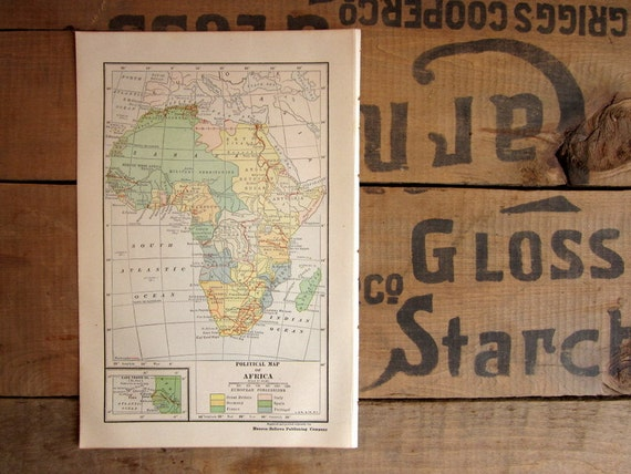 Vintage Africa Map, Book Plate Antique Political Map of Africa from 1919, Color