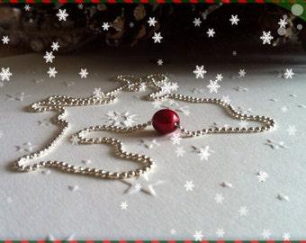 Collier chaîne boule avec perle rouge Réf 196