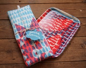 Hand screen printed Nautical linen union tea towel and wooden tray bundle