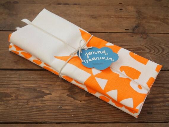 Hand printed Nautical tea towel duo - the pink & orange bundle