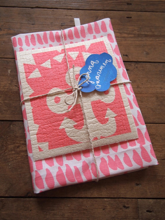 The 'Hundreds and Thousands' Tea towel and 'Anchor' Dishcloth bundle in pink