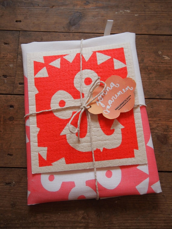 Hand printed 'Sundial Anchor' Tea Towel and a dishcloth bundle - baby pink & red