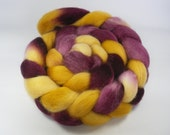 Hand Dyed Corriedale Roving / Top, Yellow and Purple, 3.5oz/100gm