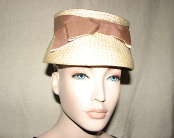 1960s Straw Pillbox Hat with Brown Grosgrain Ribbon