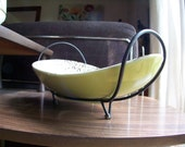 Mid Century Eames Era Tripod Textured Glaze Ceramic Serving Bowl