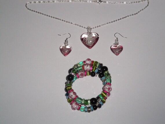 Beautiful Pink Hearts Jewelry Set OOAK