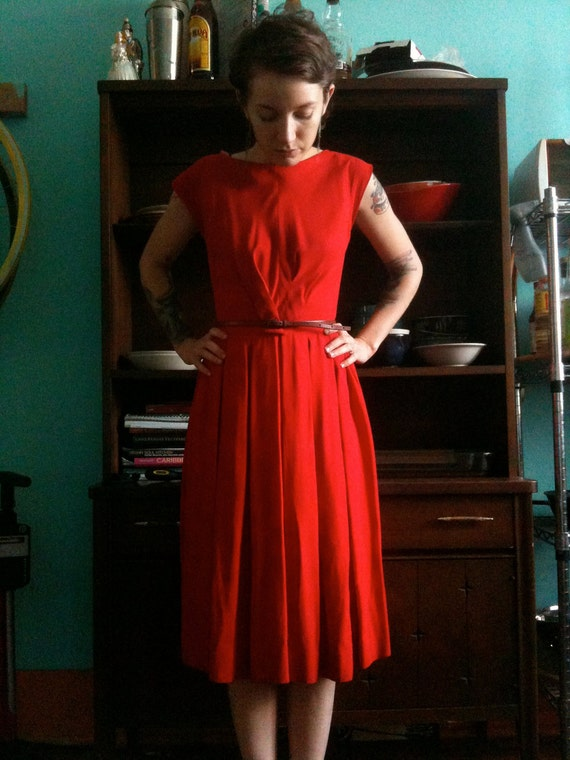 RESERVED - Vintage 1950s Bright Red Cocktail Dress size small
