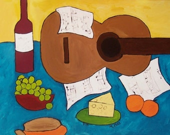 Picnic - original 22x28 acrylic on canvas painting
