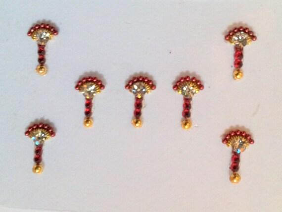 Crimson and Gold Bindi Set of 7