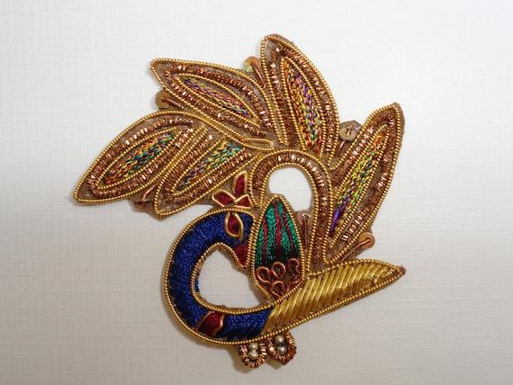 Golden Feathered Peacock-bullion- Applique-embellishments