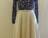 Cream Pleated Midi Patterned 60's A-line Skirt