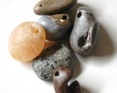 6 rough drilled beach stones: agate, jasper, and fossil shells from oregon, river rock