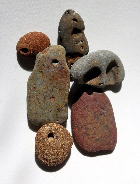 river rocks, 6 drilled rocks