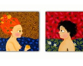 CONTEMPORARY DIPTYCH giclée canvas print from original acrylic painting / Adam and Eve / red, orange, ocher and blue