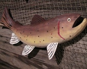 Brown Trout Wood Carved Wall Hanging (Curved)