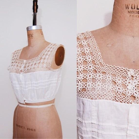 1910s camisole. Antique corset cover crochet lace top.