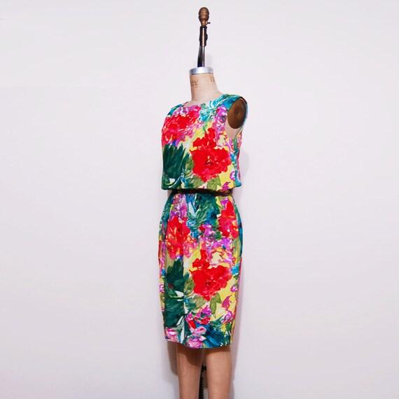 1960s silk wiggle dress. 60s floral print day dress