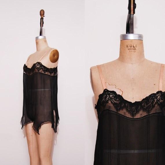 1920s flapper teddie. Antique 20s black lingerie onesie.