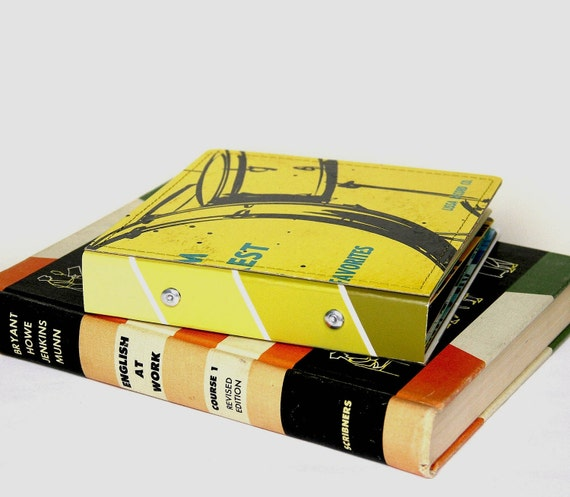 14 CD/ DVD Holder Book- Handmade from Upcycled Yellow Album Cover