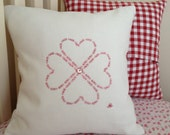 """Personalise your Own Colour Scheme - I Love U, Homemade Embroidered Heart Cushion cover 16""""x16"""""""