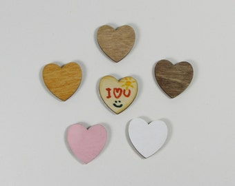 1.0 Inch Wood Hearts for Crafts Scrapbooking Charms Decorating