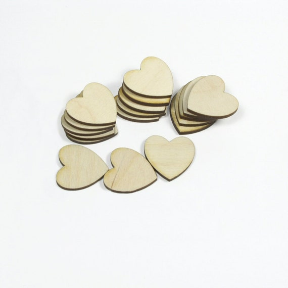 1.25 inch Wooden Hearts for Weddings Crafts Scrapbooking Charms Decorating