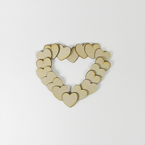 1.25 Inch Scalloped Edge Wood Hearts for Weddings Crafts Scrapbooking Charms Decorating Ruffled Edge