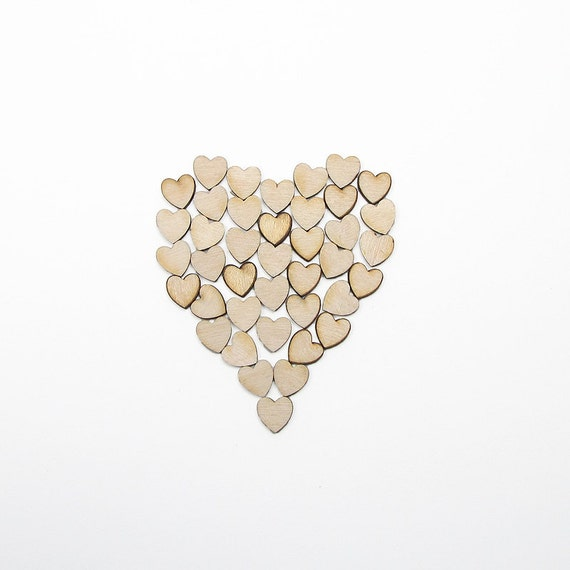 0.5 Inch Wooden Hearts for Weddings Crafts Scrapbooking Charms Decorating