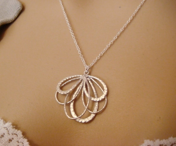 Butterfly Wing Necklace / silver butterfly wing flower necklace / everyday simple, pretty jewelry