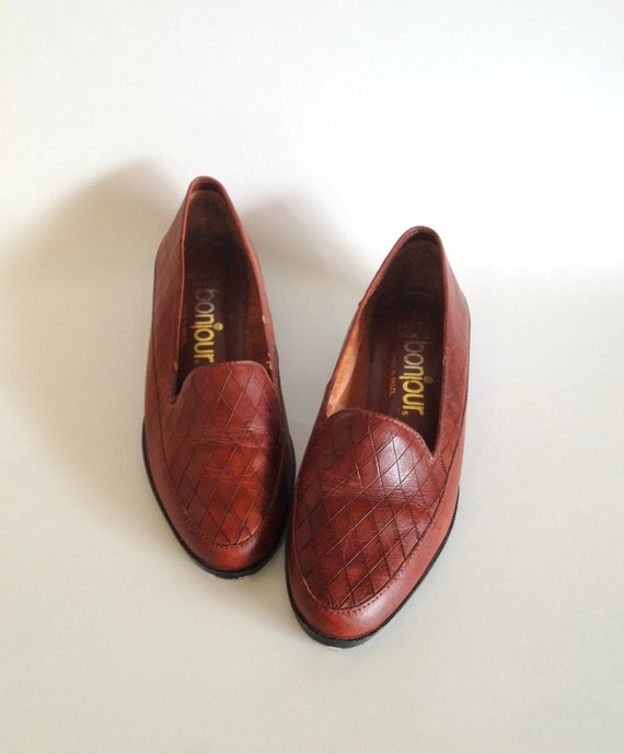 Shoes 6 / Brown Leather Loafers / 1980s / Brown Flats / Shoes size 6