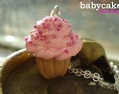 CHOOSE COLOR Tiny Sprinkled & Sparkled Twist CUPCAKE Necklace