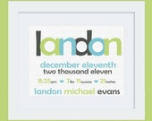Nursery Art Baby Boy Birth Stats & Name Nursery Print: Custom Personalized 8x10 or 11x14 Poster in Charcoal Gray, Lime Green, Aqua Blue