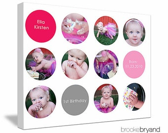 "16""x20"" Photo Collage Canvas (baby's 1st year, cake smash celebration)"