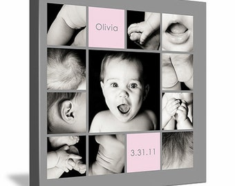 "10""x10"" Photo Collage Canvas (baby's 1st year, ""baby parts"", cake smash celebration)"