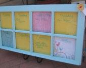 Aqua Vintage Paned Window Week Schedule Dry-Erase Calendar Wall Decor by Rule42