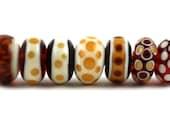 Lampwork Glass Beads by Beadscrumptious. Lampwork Beads. Caramel.
