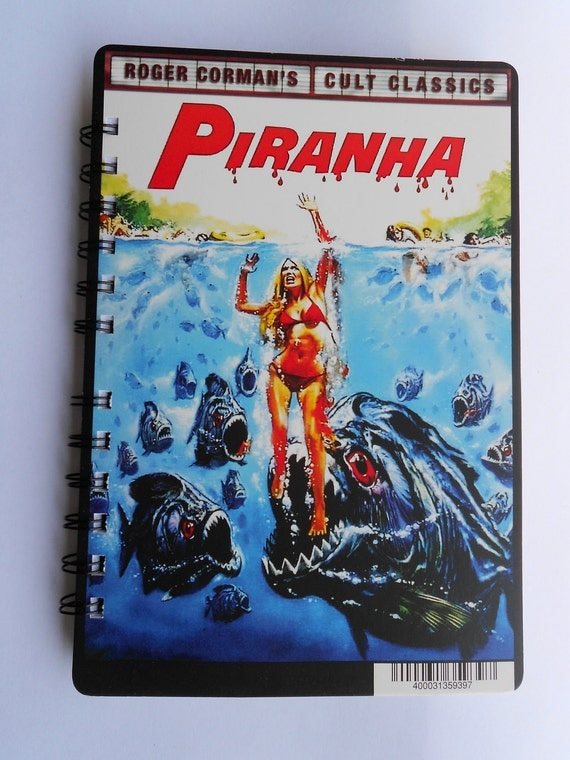 """Upcycled """"Cinema-Log"""" Sketchbook/Notebook/Journal Spiral Bound """"Piranha"""" Approx. 55 Pages Plain White Paper, Blank No Lines"""