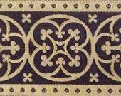 3 Yards. Jacquard Trim. Very Wide, Black & Gold Ribbon, Braid. Historic Reproduction. Religious, Vestment