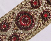 Very Wide, Hand-Beaded Jacquard Ribbon Trim. Burgundy, Gold, Red, Silver Sequins & Beads