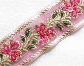 3 Yards. Hand-Beaded Trim. Sequins & Beads. Pink, Gold Flowers. Embroidered Jacquard. Organza. Floral Ribbon Braid