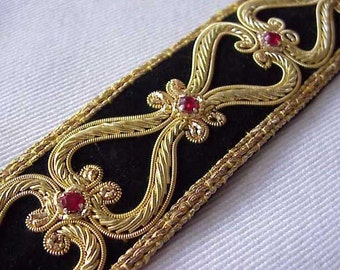 Hand-Beaded Trim. Gold Bullion on Black Velvet