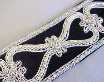 Hand-Beaded Trim. Silver Bullion on Black Velvet
