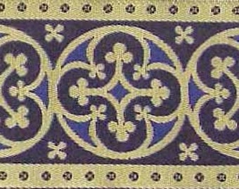 3 Yards. Jacquard Trim. Very Wide, Blue & Gold Ribbon, Braid. Historic Reproduction. Religious, Vestment