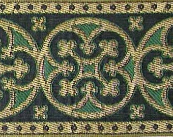 3 Yards. Jacquard Trim. Wide, Green & Gold Ribbon, Braid. Historic Reproduction. Religious, Vestment