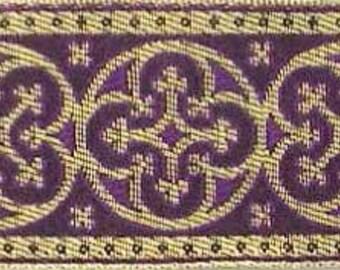 3 Yards. Jacquard Trim. Purple & Gold Ribbon, Braid. Historic Reproduction. Religious, Vestment