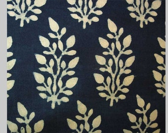 2.5 Yards. Hand Block Printed, Indigo Blue, Cotton Fabric. Natural Dyes. From Bagru in Rajasthan India