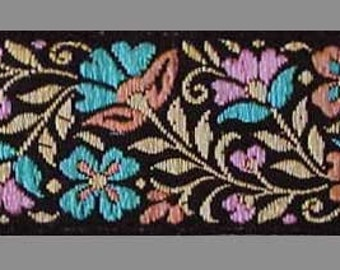 3 Yards. Jacquard Trim. Multicolored Flowers on Black Ribbon. Braid