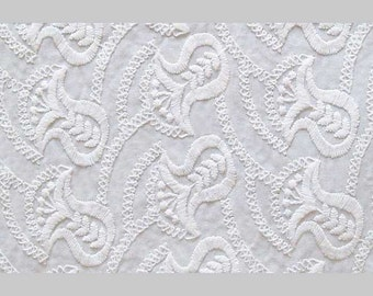 Embroidered Cotton Fabric. White-on-White. Or You Can Dye It