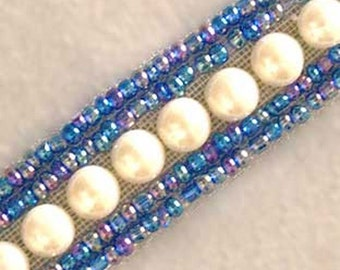 Beaded Trim. Blue Beads & Faux Pearls. 3 Yards